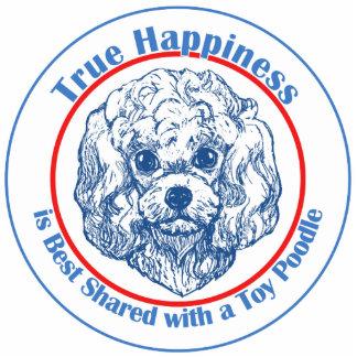 Felicidad verdadera con un caniche de juguete adorno fotoescultura