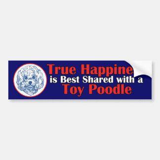 Felicidad verdadera con un caniche de juguete pegatina para auto