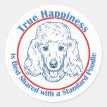 Felicidad verdadera con un caniche estándar pegatinas