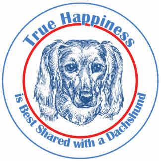 Felicidad verdadera con un Dachshund (de pelo larg Adorno Fotoescultura