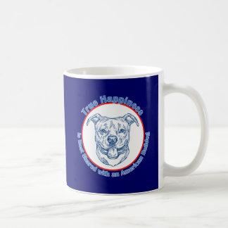 Felicidad verdadera con un dogo americano tazas de café