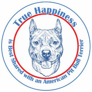 Felicidad verdadera con un pitbull Terrier del ame Escultura Fotografica