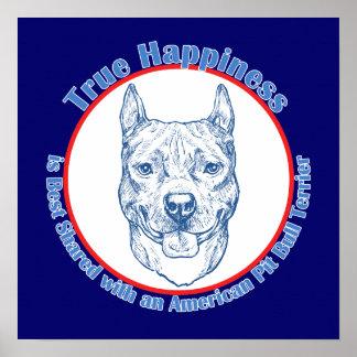 Felicidad verdadera con un pitbull Terrier del ame Impresiones