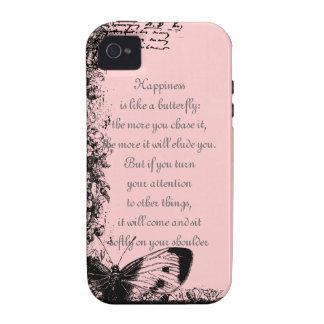 Felicidad y cita de las mariposas vibe iPhone 4 carcasas