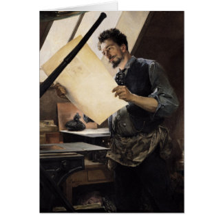 Felicien Rops  in his studio Card
