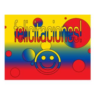 Felicitaciones! Ecuador Flag Colors Pop Art Postcard