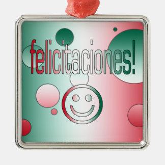 Felicitaciones! Mexico Flag Colors Pop Art Christmas Tree Ornament