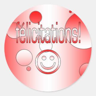 Félicitations! Canada Flag Colors Pop Art Classic Round Sticker