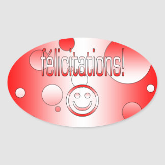 Félicitations! Canada Flag Colors Pop Art Oval Sticker