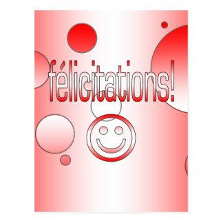 Félicitations! Canada Flag Colors Pop Art Postcard