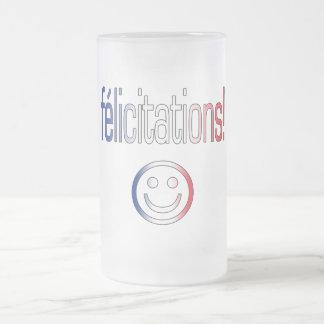 ¡Félicitations! Colores franceses de la bandera Taza De Cristal
