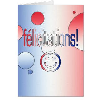 ¡Félicitations La bandera francesa colorea arte p Felicitación