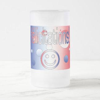 ¡Félicitations! La bandera francesa colorea arte Taza De Cristal