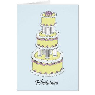 Félicitations, pastel coloured wedding cake. card