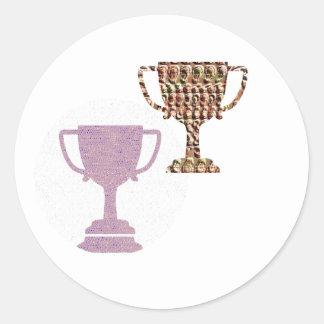 Felicite con símbolos del ganador del PREMIO Etiquetas Redondas