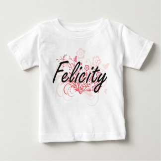 Felicity Artistic Name Design with Flowers T Shirts