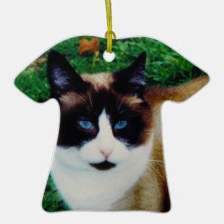 Feline Beauty Double-Sided T-Shirt Ceramic Christmas Ornament