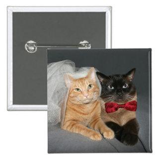 Feline bride and groom pin