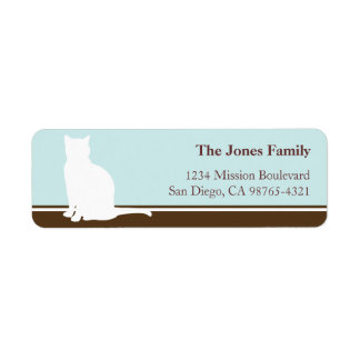 Feline cat pet silhouette blue return or mailing labels