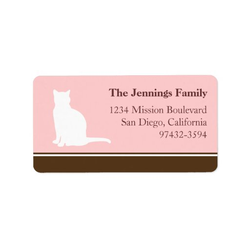 Feline cat pet silhouette pink return or mailing personalized address label