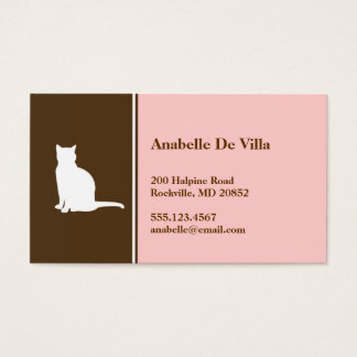 Feline cat pink brown pet personal calling card