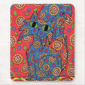 Feline Flower Frenzy Mouse Pad