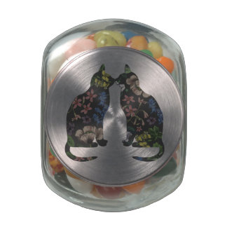 Feline Flowers Glass Candy Jar