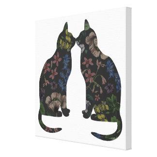 Feline Flowers Gallery Wrapped Canvas