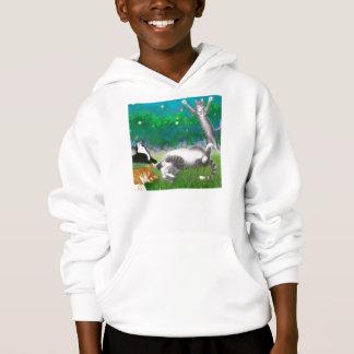 Feline Fun with Fireflies Kids Hooded Sweatshirt