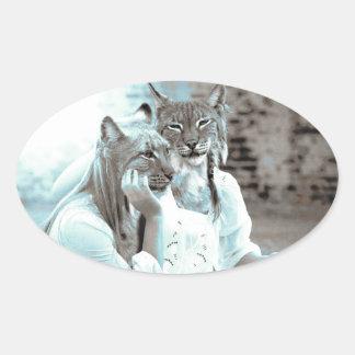 Feline Girls Oval Sticker