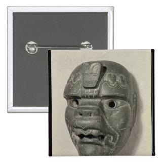 Feline mask of a man, from Oaxaca, Pre-Columbian Button