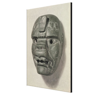 Feline mask of a man, from Oaxaca, Pre-Columbian Stretched Canvas Print