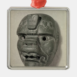 Feline mask of a man, from Oaxaca, Pre-Columbian Square Metal Christmas Ornament