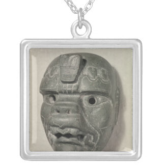 Feline mask of a man, from Oaxaca, Pre-Columbian Silver Plated Necklace