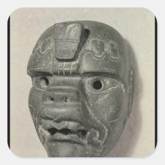 Feline mask of a man, from Oaxaca, Pre-Columbian Square Sticker