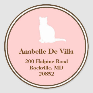 Feline pink brown cat custom name address label classic round sticker