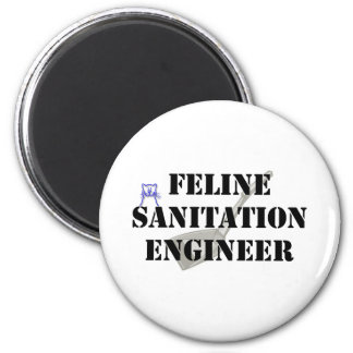 Feline Sanitation Engineer 2 Inch Round Magnet