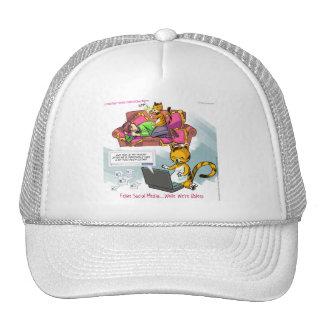 Feline Social Media Funny Mesh Hats