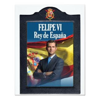 """Felipe VI Rey de España Invitación 4.25"""" X 5.5"""""""
