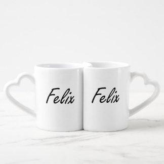 Felix Artistic Name Design Couples' Coffee Mug Set