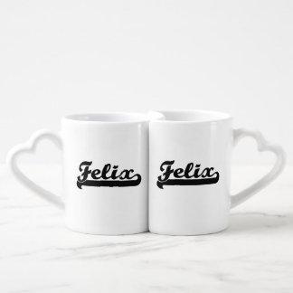 Felix Classic Retro Name Design Couples' Coffee Mug Set