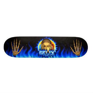 Felix skull blue fire and flames skateboard design
