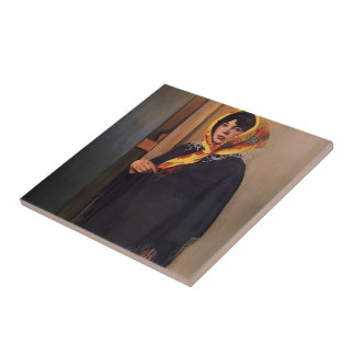 Felix Vallotton - mujer joven con la bufanda amari Tejas Ceramicas