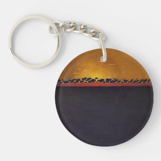 Felix Vallotton - Sunset, Gray Blue High Tide Keychains
