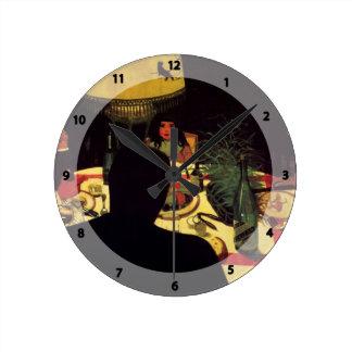 Felix Vallotton - The Dinner, effect of lamp Round Wall Clocks