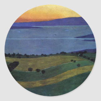 Felix Vallotton -The Lake Leman, effect of evening Classic Round Sticker