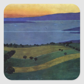 Felix Vallotton -The Lake Leman, effect of evening Square Sticker