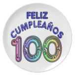 Feliz 100o Cumpleaños Plato De Cena