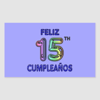 Feliz 15th Cumpleaños Rectangular Sticker