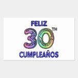 Feliz 30th Cumpleaños Rectangle Stickers